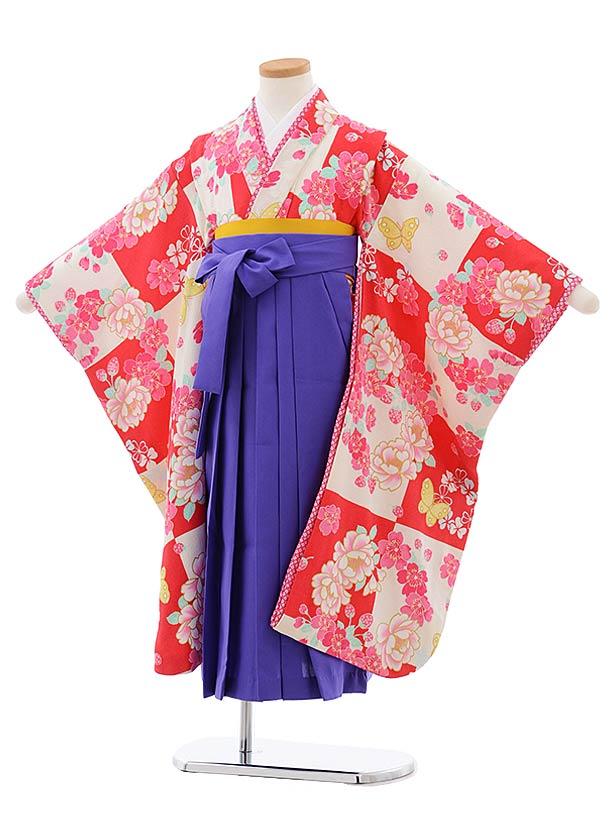 女児袴レンタル(7歳)7800チェリーピンク地桜に蝶×パープル袴