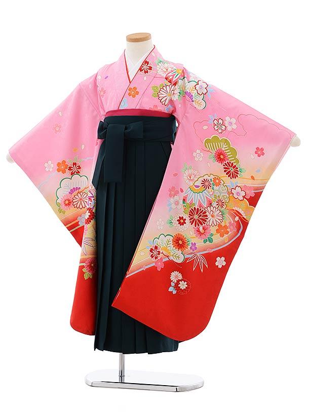 女児袴レンタル(7歳)7802ピンク地裾赤雪輪に花×ダークグリーン袴