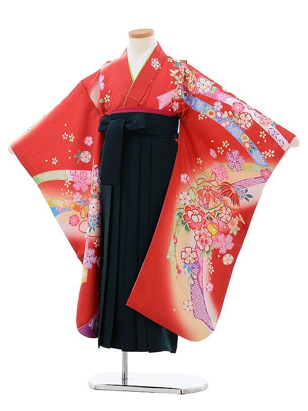 女児袴レンタル(7歳)7803赤地花にまり×ダークグリーン袴