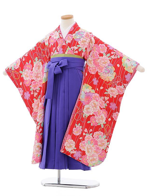 女児袴レンタル(7歳)7809赤地八重桜×パープル袴