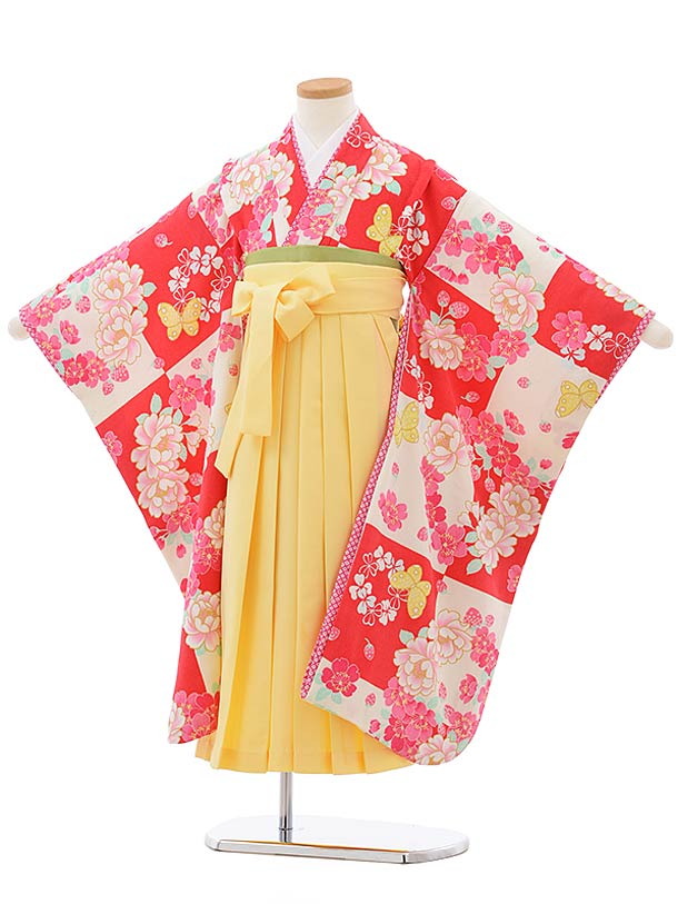 七五三(7歳女児袴)7811チェリーピンク地に蝶×黄色袴