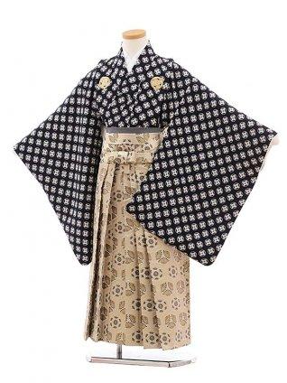 男児卒園袴(7歳) 0828 紺地丸紋×ベージュ袴