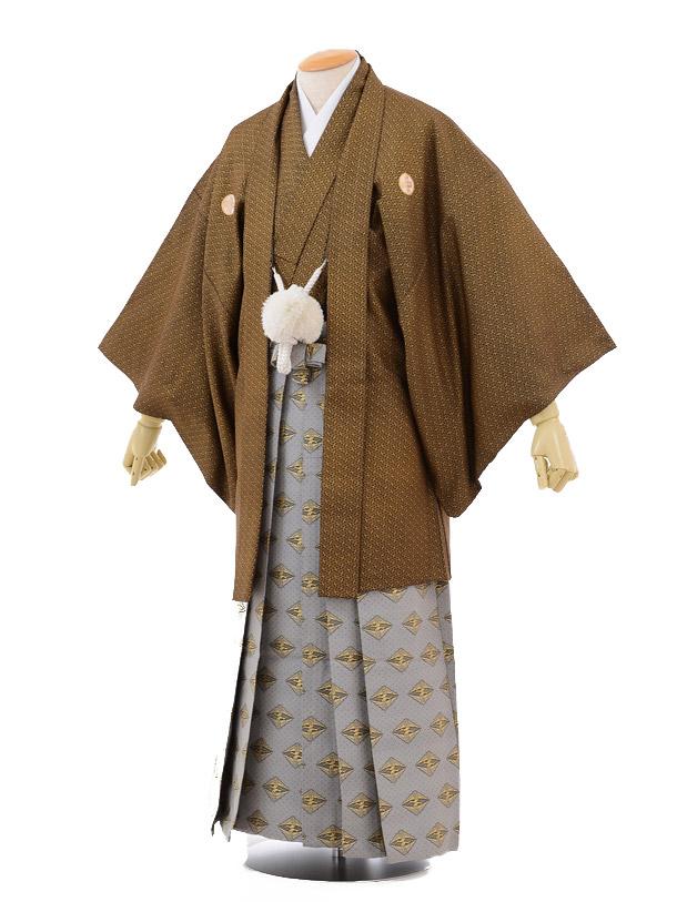 成人式卒業式袴レンタル141黒金紗菱形×グレー袴