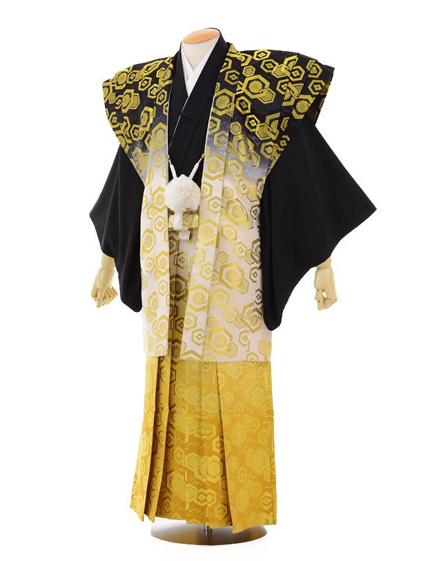 成人式卒業式袴レンタル142黒紋付陣羽織×ゴールドぼかし袴