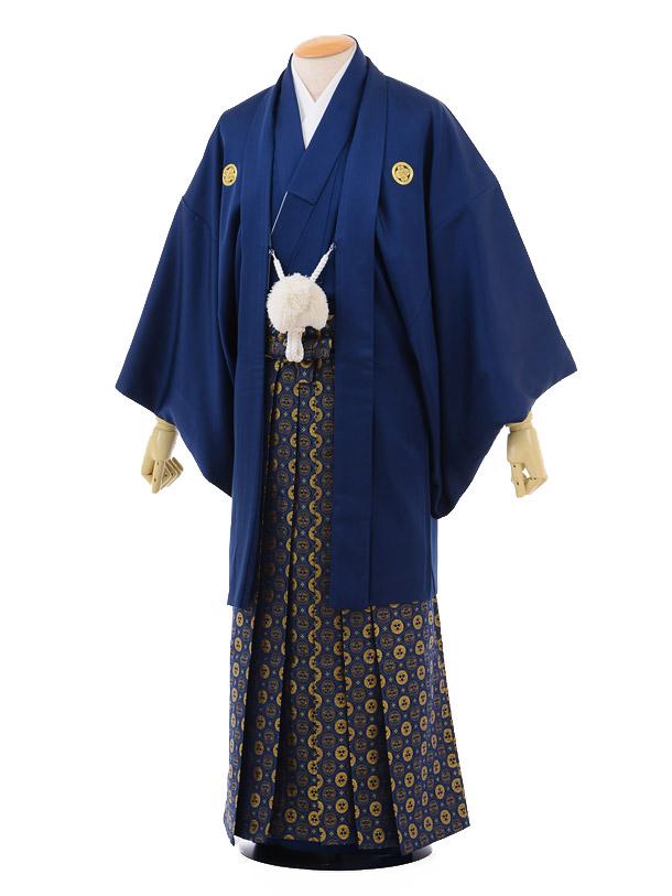 成人式卒業式袴レンタル144紺紋付×紺ゴールド袴