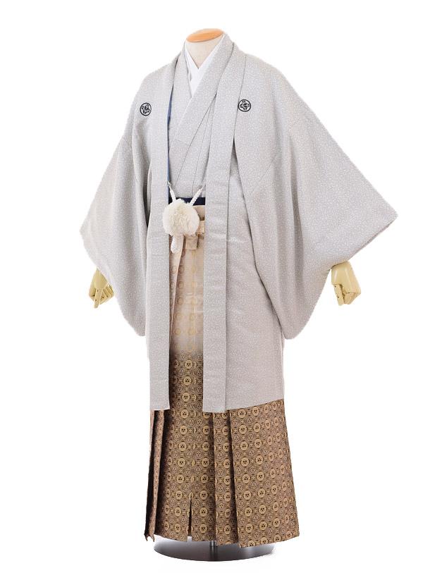 成人式卒業式袴レンタル147白黒唐草紋付×黒ゴールドぼかし袴