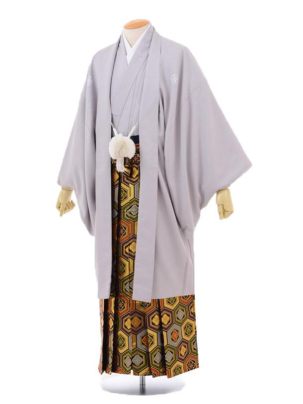 成人式卒業式袴レンタル148グレー紋付×ゴールド亀甲袴