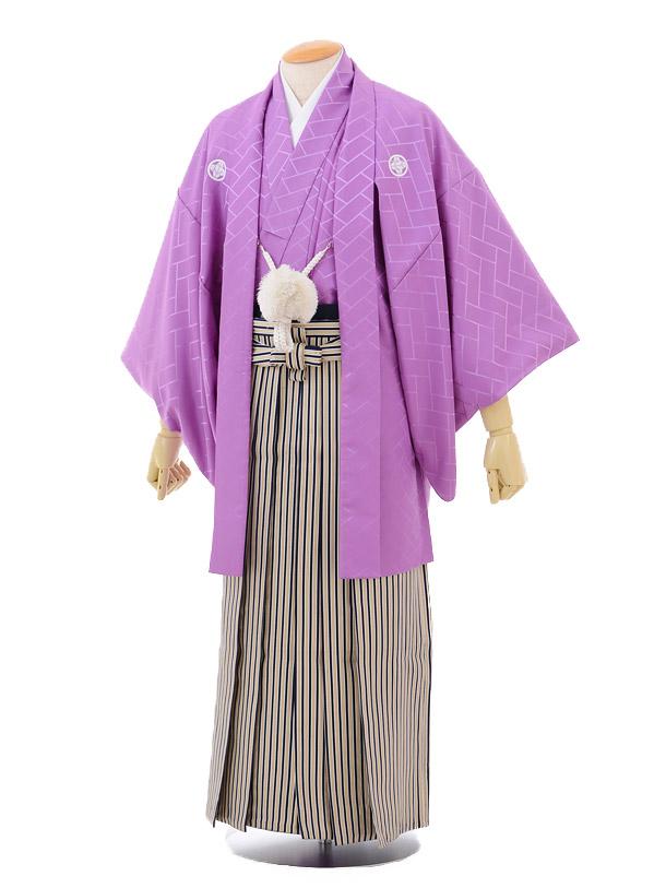 成人式卒業式袴レンタル149紫紋付×紺ゴールド縞袴