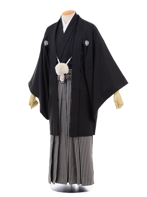 成人式卒業式袴レンタル153黒紋付×黒縞袴