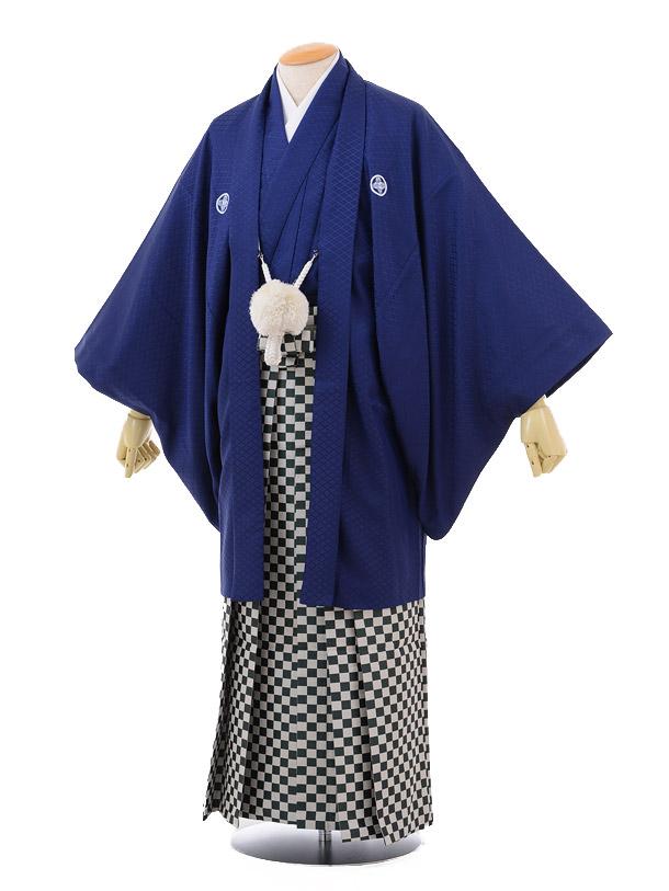 成人式卒業式袴レンタル161紺紋付×グリーン市松袴