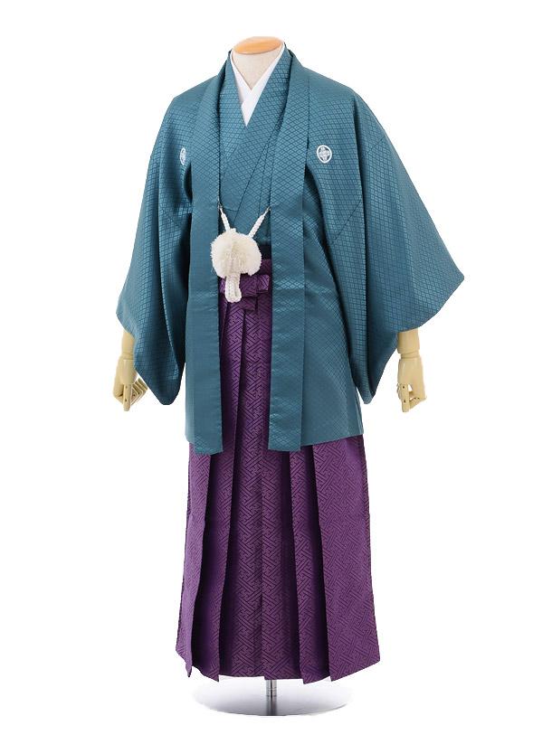 成人式卒業式袴レンタル164グリーン紋付×紫袴