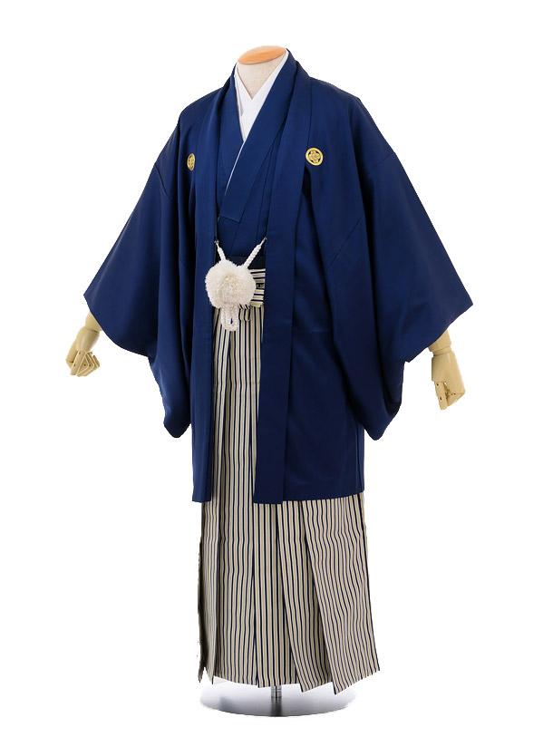 成人式卒業式袴レンタル165紺紋付×紺ゴールド縞袴