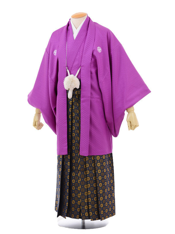 成人式卒業式袴レンタル166紫紋付×紺ゴールド袴