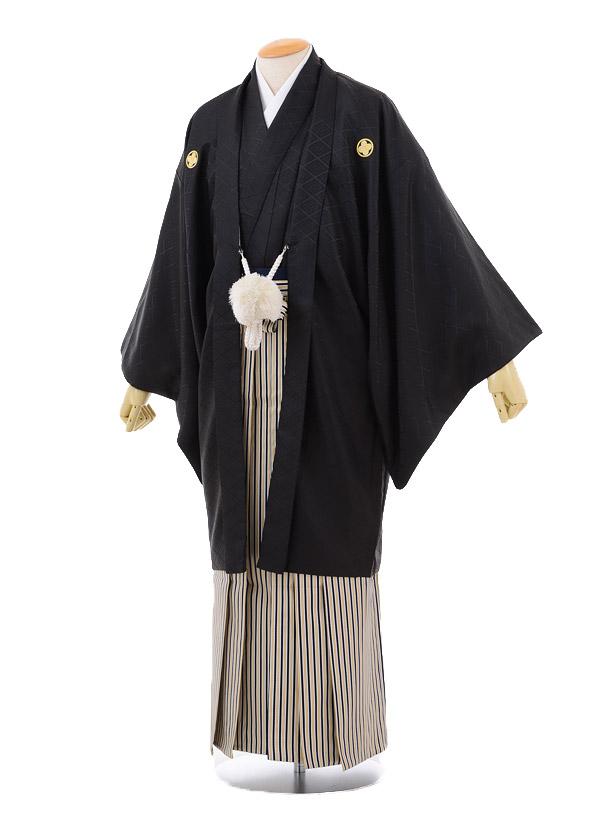 成人式卒業式袴レンタル171黒紋付×紺白ゴールド縞袴