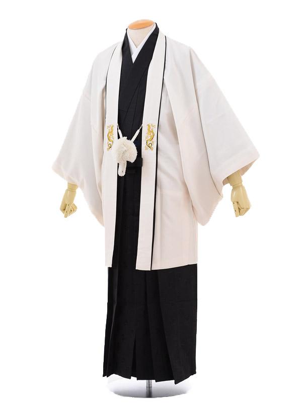 成人式卒業式袴レンタル172式部浪漫アイボリー×黒袴