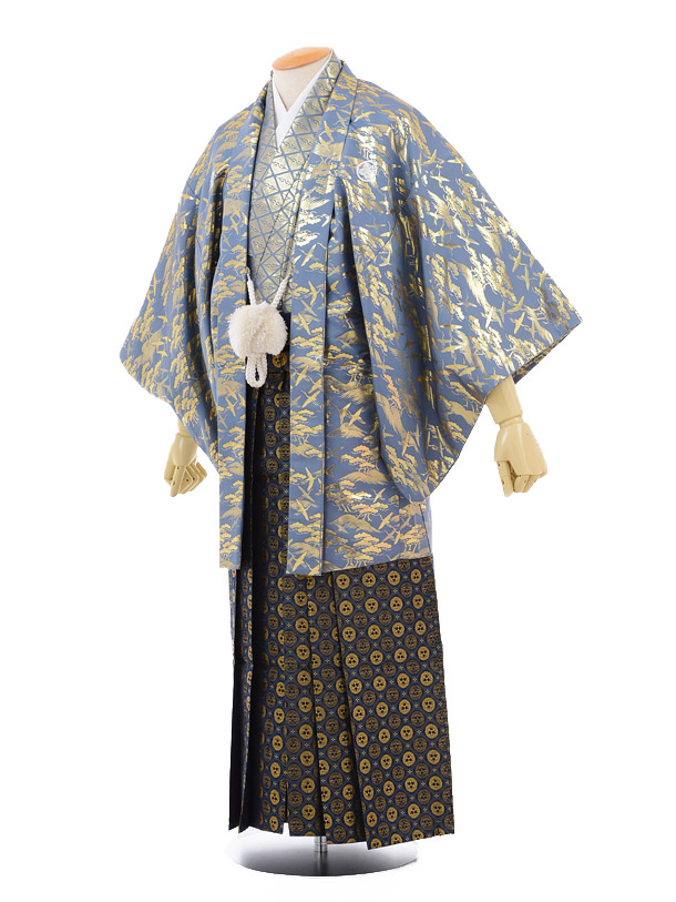成人式卒業式袴レンタル173グレーゴールド紋付×紺ゴールド袴