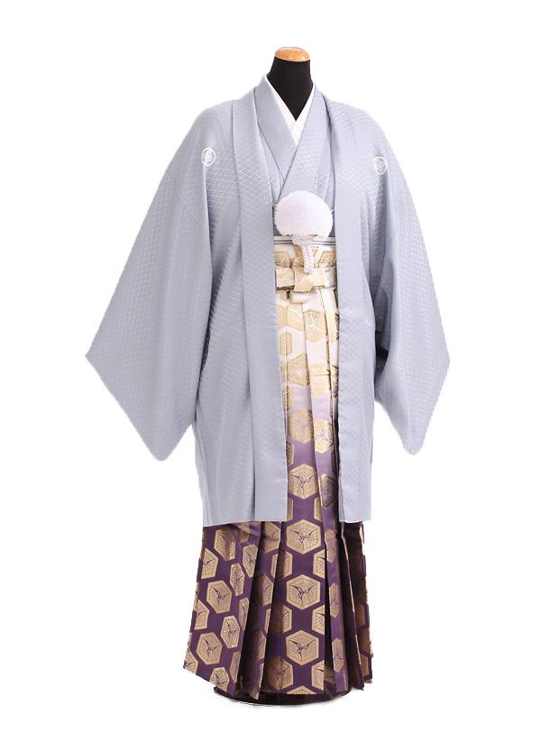 卒業式成人式袴レンタル179グレー紋付×紫金ぼかし袴