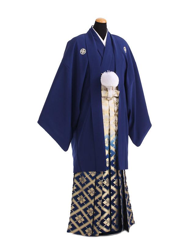 卒業式成人式袴レンタル180紺紋付×紺金ぼかし袴