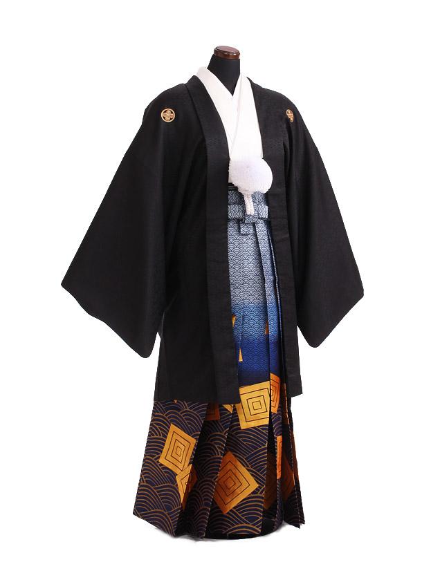 卒業式成人式袴レンタル181黒紋付[絆]×紺ゴールド袴
