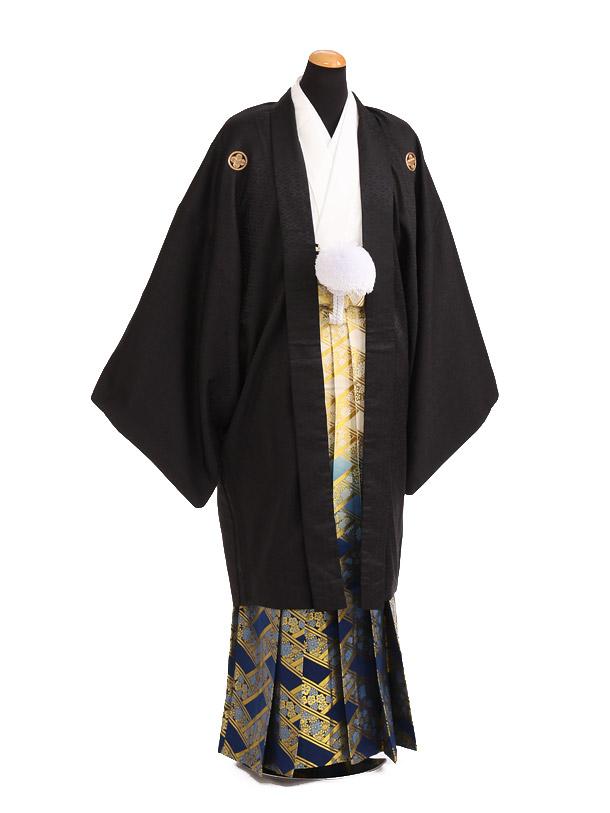 卒業式成人式袴レンタル184黒紋付[竜馬]×紺ゴールド袴