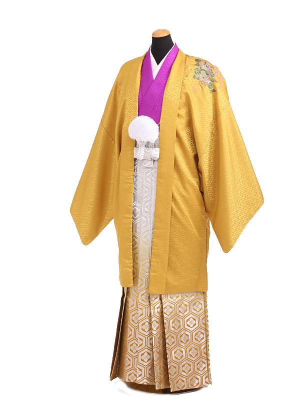卒業式成人式袴レンタル186黄色紋付×ゴールド袴