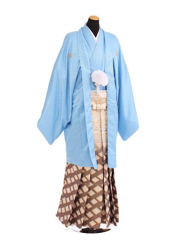 卒業式成人式袴レンタル190水色紋付鷹富士×金ぼかし袴