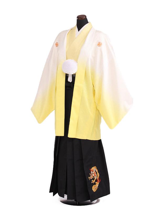 卒業式成人式袴レンタル191黄色ぼかし紋付×黒袴