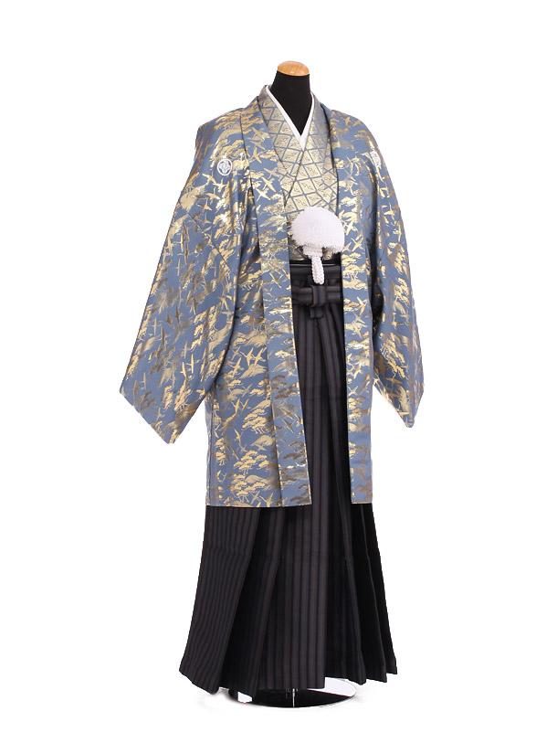卒業式成人式袴レンタル192グレーゴールド紋付×黒縞袴