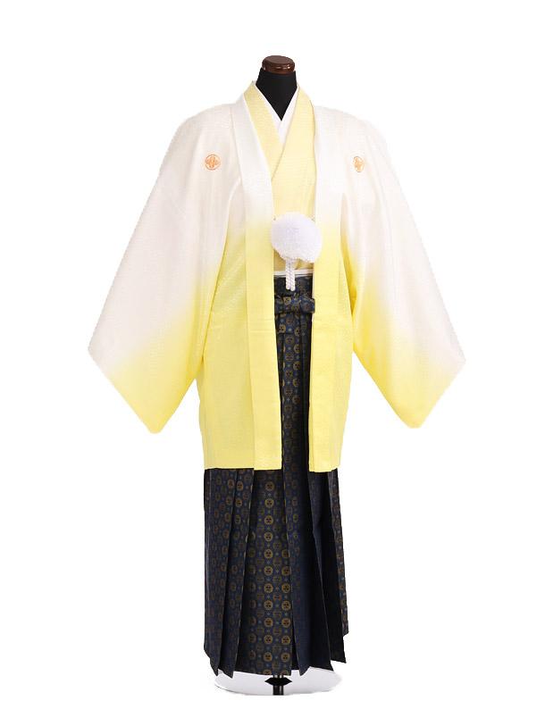 卒業式成人式袴レンタル194黄ぼかし紋付×紺ゴールド袴