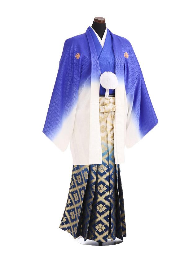 卒業式成人式袴レンタル196紫ぼかし紋付×紺金ぼかし袴