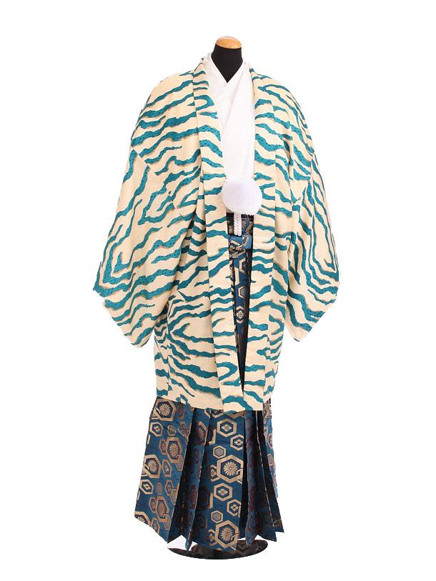 卒業式成人式袴レンタル201ブルー虎柄×紺金ぼかし袴