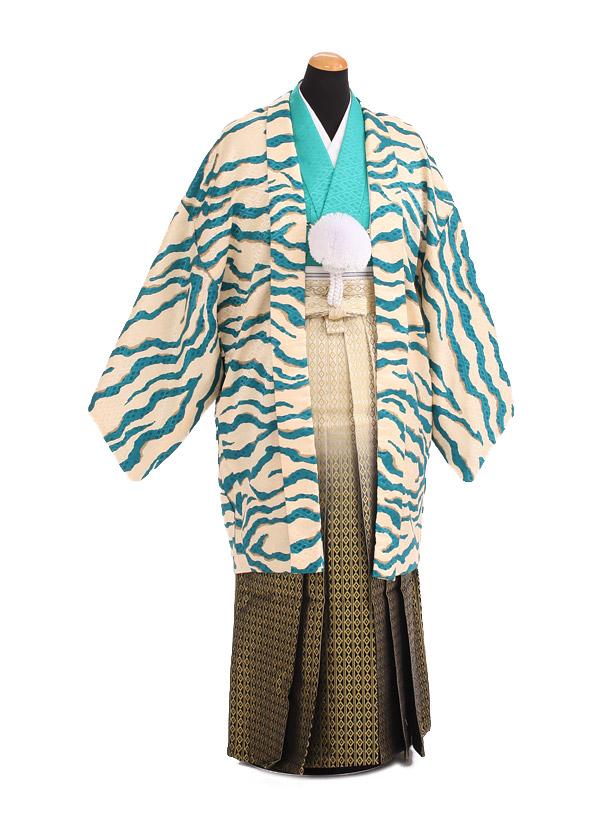 卒業式成人式袴レンタル205ブルー虎柄×黒金ぼかし袴