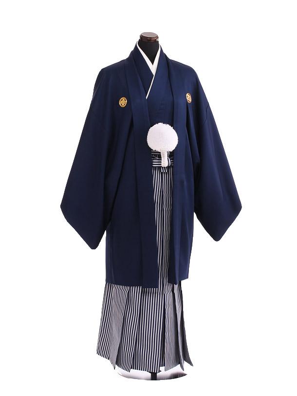 卒業式成人式袴レンタル207紺紋付×白紺仙台平袴