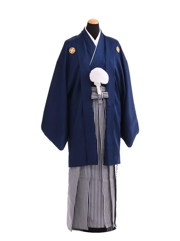卒業式成人式袴レンタル208紺紋付×白紺仙台平袴