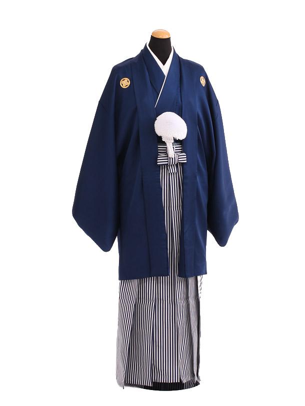 卒業式成人式袴レンタル209紺紋付×白紺仙台平袴