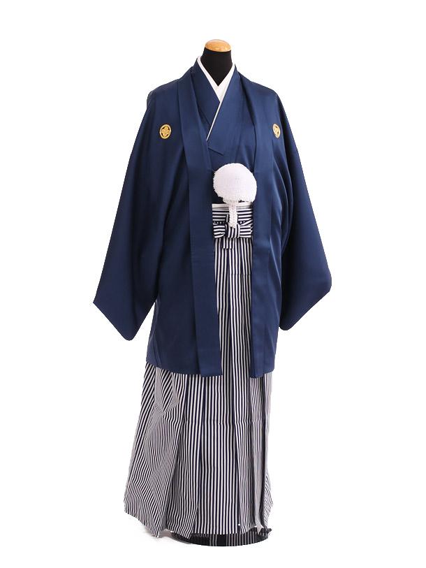 卒業式成人式袴レンタル211紺紋付×白紺仙台平袴