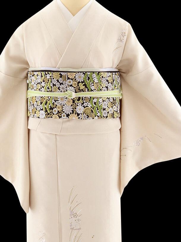山口美術織物 ベージュ着物